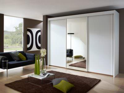 Шкаф-Купе в гостинную Зеркало+Матовые двери