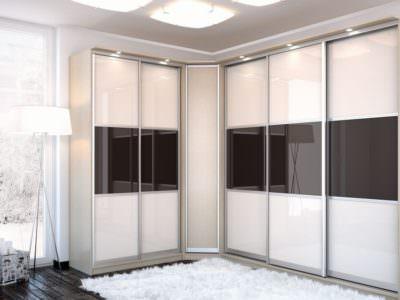 Шкаф-Купе в спальную комнату Черный и Белый Глянец