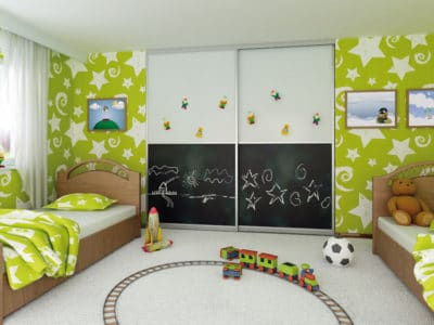 Шкаф-Купе в Детскую комнату в Белом и Черном исполнении
