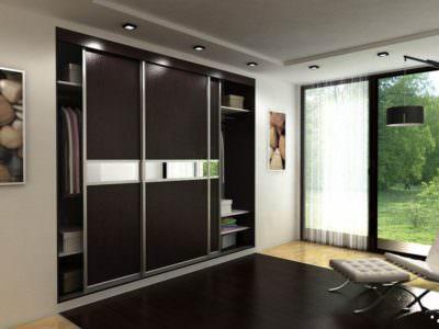 Шкаф в Гостинную Черная Эко-Кожа+Зеркало